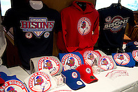 Buffalo Bisons new merchandise displayed during a press conference introducing the teams new logo and manager for their affiliation with the Toronto Blue Jays at Coco-Cola Field on November 20, 2012 in Buffalo, New York.  (Mike Janes/Four Seam Images)