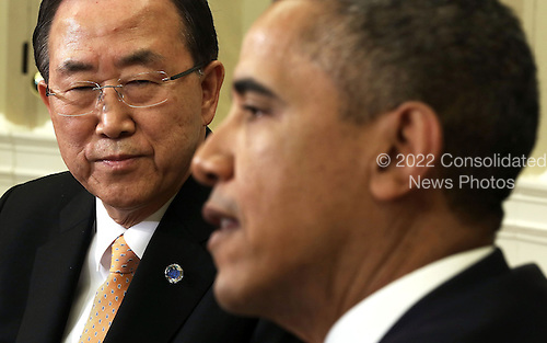 United States President Barack Obama (R) meets with United Nations Secretary General Ban Ki-moon (L) in the Oval Office of the White House April 11, 2013 in Washington, DC. Obama hosted Ban for talks on various topics including the crisis in Syria and the Korean Peninsula.  .Credit: Alex Wong / Pool via CNP