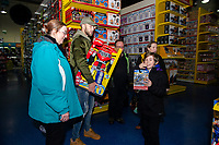 Pictured: Mike van der Hoorn of Swansea City buying children gifts at Smyth's Toy Store, in Swansea, Wales, UK. Wednesday 19 December 2018