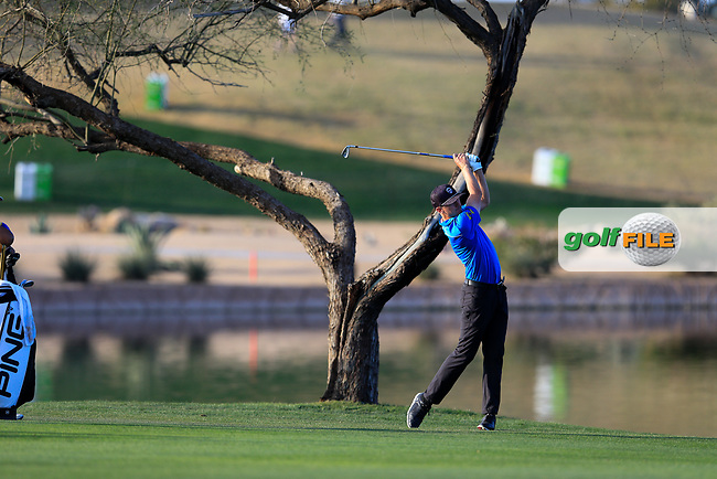 Mackenzie Hughes (CAN) on the 15th fairway during the 2nd round of the Waste Management Phoenix Open, TPC Scottsdale, Scottsdale, Arisona, USA. 01/02/2019.<br /> Picture Fran Caffrey / Golffile.ie<br /> <br /> All photo usage must carry mandatory copyright credit (&copy; Golffile | Fran Caffrey)