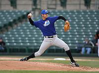2007:  Tim Kester of the Norfolk Tides delivers a pitch vs the Rochester Red Wings in International League baseball action.  Photo by Mike Janes/Four Seam Images
