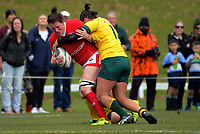 Jacey Grusnick is tackled during the 2017 International Women's Rugby Series rugby match between Canada and Australia Wallaroos at Smallbone Park in Rotorua, New Zealand on Saturday, 17 June 2017. Photo: Dave Lintott / lintottphoto.co.nz