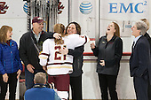Danika Bender, Buddy Bender, Lexi Bender (BC - 21), Courtney Kennedy (BC - Associate Head Coach), Katie Crowley (BC - Head Coach), Brad Bates (BC - AD) - The Boston College Eagles defeated the visiting Providence College Friars 7-1 on Friday, February 19, 2016, at Kelley Rink in Conte Forum in Boston, Massachusetts.