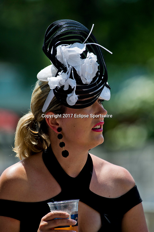 ELMONT, NY - JUNE 10: A woman wears a fancy hat on Belmont Stakes Day at Belmont Park on June 10, 2017 in Elmont, New York (Photo by Scott Serio/Eclipse Sportswire/Getty Images)