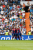 9th September 2017, Santiago Bernabeu, Madrid, Spain; La Liga football, Real Madrid versus Levante; Ivi Lopez (14) of Levante celebrates after scoring his sides opening goal