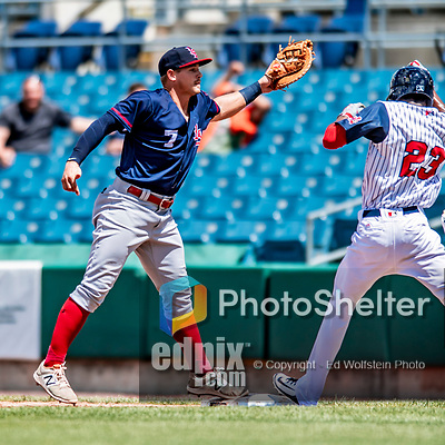 22 July 2018: Louisville Bats first baseman Brian O'Grady gets the 2nd out in the 3rd inning against the Syracuse SkyChiefs at NBT Bank Stadium in Syracuse, NY. The Bats defeated the Chiefs 3-1 in AAA International League play. Mandatory Credit: Ed Wolfstein Photo *** RAW (NEF) Image File Available ***