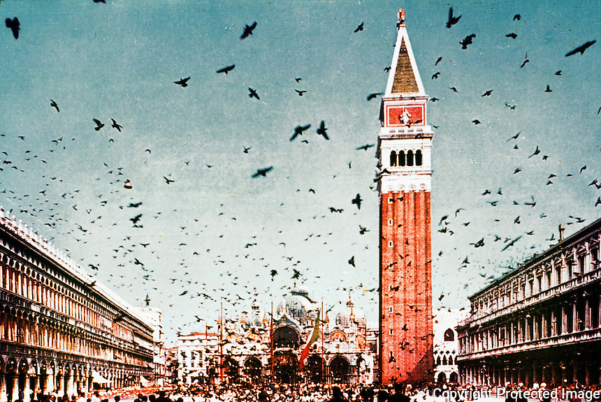 Venice: Piazza San Marco,  looking towards Basilica San Marcos.   Reference only.