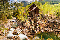 The Crystal Mill teeters on a rock buttress above a picturesque waterfall on the Crystal River near Marble, Colorado.<br /> The mill was constructed in 1893. Originally it had a horizontal water wheel which generated compressed air for miners in the nearby silver mines. It fell into disuse in 1917 when the Sheep Mountain Mine closed. The mill was placed on the National Register of Historic Places on July 5, 1985