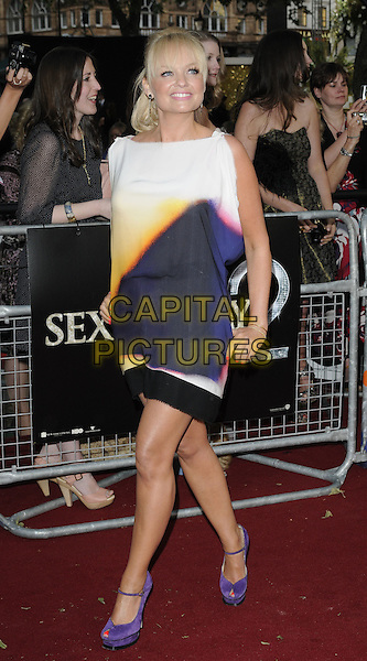 EMMA BUNTON .(wearing Victoria Beckham) .Attending the 'Sex And The City 2' European Film Premiere at the Odeon, Leicester Square, London, England, UK, May 27th, 2010 .arrivals full length white purple yellow silk print dress peep toe YSL sandals platform shoes tie dye sleeveless pink black trim walking .CAP/CAN.©Can Nguyen/Capital Pictures.
