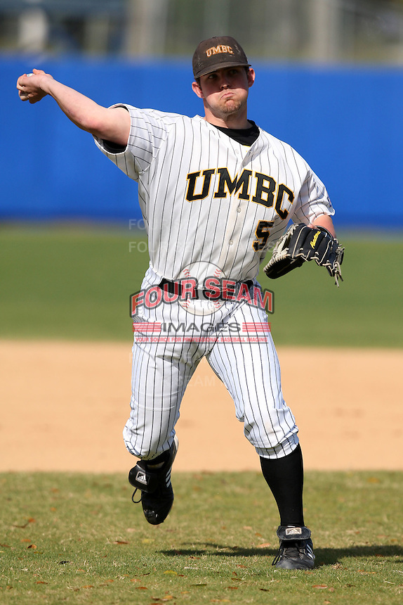 March 14, 2010:  Third Baseman Justin Lamborn of UMBC in a game vs. Bucknell at Chain of Lakes Stadium in Winter Haven, FL.  Photo By Mike Janes/Four Seam Images