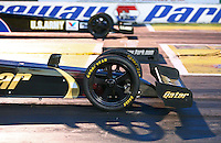 May 31, 2013; Englishtown, NJ, USA: Detailed view of the front wheels on the car of NHRA top fuel dragster driver Khalid Albalooshi as he stages his car during qualifying for the Summer Nationals at Raceway Park. Mandatory Credit: Mark J. Rebilas-