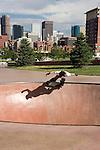 Skateboarding at th eDenver Skatepark, Colorado,