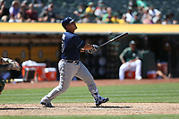 OAKLAND, CA - JULY 19:  Wilson Ramos #40 of the Tampa Bay Rays bats against the Oakland Athletics during the game at the Oakland Coliseum on Wednesday, July 19, 2017 in Oakland, California. (Photo by Brad Mangin)