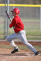 April 5, 2009:  Outfielder Ryan Chenoweth (8) of the Ball State Cardinals during a game at Amherst Audubon Field in Buffalo, NY.  Photo by:  Mike Janes/Four Seam Images