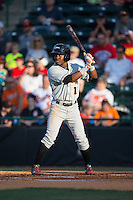Cedric Mullins (11) of the Delmarva Shorebirds at bat against the Hickory Crawdads at L.P. Frans Stadium on June 18, 2016 in Hickory, North Carolina.  The Shorebirds defeated the Crawdads 4-2 in game two of a double-header.  (Brian Westerholt/Four Seam Images)