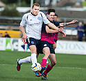 Forfar's Michael Dunlop and Morton's Stefan McCluskey challenge for the ball.