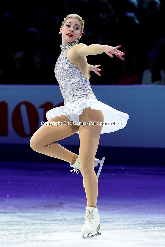 Sunday, April 3, 2016: Gracie Gold (USA) performs at the International Skating Union World Champions Exhibition, held at TD Garden, in Boston, Massachusetts. Eric Canha/CSM