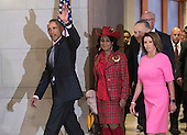 United States President Barack Obama walks with Rep. Frederica Wilson (D-FL), Senate Minority Leader Charles Schumer (D-NY) and House Minority Leader Nancy Pelosi (D-CA) as they make their way to a meeting with Congressional Democrats on Capitol Hill in Washington, D.C. on January 4, 2017.<br /> Credit: Kevin Dietsch / Pool via CNP