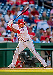 26 September 2018: Washington Nationals infielder Adrian Sanchez at bat in the second inning against the Miami Marlins at Nationals Park in Washington, DC. The Nationals defeated the visiting Marlins 9-3, closing out Washington's 2018 home season. Mandatory Credit: Ed Wolfstein Photo *** RAW (NEF) Image File Available ***