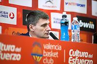 VALENCIA, SPAIN - 05/12/2014. Perasovic entrenador del Valencia Basket durante la rueda de prensa al terminar el partido. Pabellon Fuente de San Luis, Valencia, Spain.