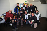 Accredited photographers with legendary Peter Bush in the photographers' room after the Rugby Championship match between the New Zealand All Blacks and South Africa Springboks at Westpac Stadium in Wellington, New Zealand on Saturday, 15 September 2018. Photo: Dave Lintott / lintottphoto.co.nz