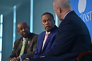 Washington, DC - April 8, 2014:  Fox News political analyst Juan Williams (c) moderates a panel discussion with Philadelphia Mayor Michael Nutter and Mayor Mitch Landrieu of New Orleans. The panel was part of the Aspen Institute's 'Symposium on The State of Race in America' at the Newseum in the District of Columbia. (Photo by Don Baxter/Media Images International)