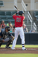 Louie Lechich (21) of the Kannapolis Intimidators at bat against the Asheville Tourists at Intimidators Stadium on June 25, 2015 in Kannapolis, North Carolina.  The Intimidators defeated the Tourists 9-8.  (Brian Westerholt/Four Seam Images)