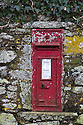 Post box encrusted with lichens. Pembrokeshire, Wales, UK. January.