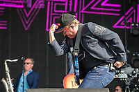 Possibly a tribute to the late Bruce Forsyth as Mark King of Level 42 enters the stage at Rewind South Festival 2017 at Temple Island Meadows, Henley-on-Thames, England on 19 August 2017. Photo by David Horn/PRiME Media Images