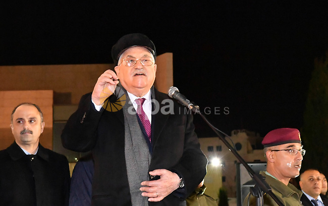 Palestinian president Mahmud Abbas speaks outside the tomb of the late President Yasser Arafat during a celebration marking the fifty-third anniversary of the creation of the Fatah movement in the West Bank city of Ramallah on December 31, 2017. Photo by Thaer Ganaim