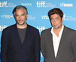 Director Andrea Di Stefano and Benicio del Toro, Claudia Traisac and Josh Hutcherson during the Photo Call for 'Escobar:Paradise Lost' at the tiff Bell Lightbox during the 2014 Toronto International Film Festival on September 10, 2014 in Toronto, Canada.