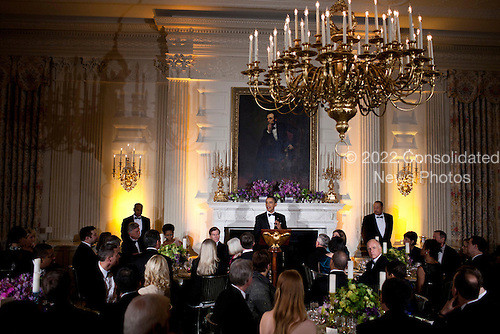United States President Barack Obama speaks in the State Dining Room of the White House February 26, 2012 in Washington, DC.  President Obama and first lady Michelle Obama hosted 2012 Governors Dinner which coincides with the yearly meeting of the National Governors Association meeting in DC. .Credit: Brendan Smialowski / Pool via CNP