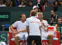 Switserland, Gen&egrave;ve, September 19, 2015, Tennis,   Davis Cup, Switserland-Netherlands, Doubles:  Dutch team Thiemo de Bakker/Matwe Middelkoop (L) in he middle captain Jan Siemerink<br /> Photo: Tennisimages/Henk Koster