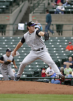 July 25, 2004:  Pitcher Dustin Mosely of the Louisville Bats, Triple-A International League affiliate of the Cincinnati Reds, during a game at Frontier Field in Rochester, NY.  Photo by:  Mike Janes/Four Seam Images