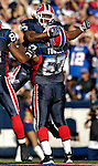 21 October 2007: Buffalo Bills running back Marshawn Lynch jumps high to celebrate scoring a touchdown in the 3rd quarter against the Baltimore Ravens at Ralph Wilson Stadium in Orchard Park, NY. The Bills defeated the Ravens 19-14 in front of 70,727 fans marking their second win of the 2007 season...Mandatory Photo Credit: Ed Wolfstein Photo