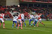 15/03/2016 Sky Bet League 1 Fleetwood Town v Walsall<br /> Joe Davies wins a header