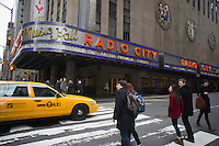 The marquee of Radio City Music Hall in New York promotes the sold out show of singer Aretha Franklin, seen on Saturday, February 11, 2012.  Franklin is reported to be suffering from leg cramps and was not able to perform or appear at the funeral of Whitney Houston. (© Richard B. Levine)