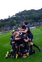 Team Wellington celebrates Team Wellington's Jack-Henry Sinclair's goal during the Oceania Football Championship final (first leg) football match between Team Wellington and Lautoka FC at David Farrington Park in Wellington, New Zealand on Sunday, 13 May 2018. Photo: Dave Lintott / lintottphoto.co.nz