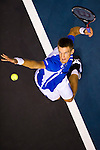 BANGKOK, THAILAND - OCTOBER 02:  Jarkko Nieminen of Finland serves against Benjamin Becker of Germany during the Day 8 of the PTT Thailand Open at Impact Arena on October 2, 2010 in Bangkok, Thailand. Photo by Victor Fraile / The Power of Sport Images