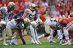 Chris Calhoun (51) of the Wake Forest Demon Deacons lines up on defense during first half action against the Clemson Tigers at Memorial Stadium on October 7, 2017 in Clemson, South Carolina.  The Tigers defeated the Demon Deacons 28-14. (Brian Westerholt/Sports On Film)