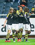 ***BETALBILD***  <br /> Solna 2015-05-10 Fotboll Allsvenskan AIK - IFK Norrk&ouml;ping :  <br /> AIK:s Henok Goitom firar sitt 1-1 m&aring;l med Sam Lundholm och Noah Sonko Sundberg under matchen mellan AIK och IFK Norrk&ouml;ping <br /> (Foto: Kenta J&ouml;nsson) Nyckelord:  AIK Gnaget Friends Arena Allsvenskan IFK Norrk&ouml;ping jubel gl&auml;dje lycka glad happy