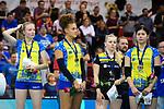 11.05.2019, Scharrena, Stuttgart<br />Volleyball, Bundesliga Frauen, Play-offs Finale, 5. Spiel, Allianz MTV Stuttgart vs. SSC Palmberg Schwerin<br /><br />Jennifer Geerties (#6 Schwerin), Kimberly Drewniok (#8 Schwerin), Anna Pogany (#4 Schwerin), Nanaka Sakamoto (#9 Schwerin) enttŠuscht / enttaeuscht / traurig <br /><br />  Foto © nordphoto / Kurth