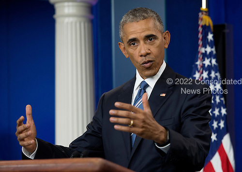 United States President Barack Obama delivers remarks on the US Supreme Court decision on immigration in the press briefing room of the White House in Washington, DC, USA, 23 June 2016.<br /> Credit: Molly Riley / Pool via CNP