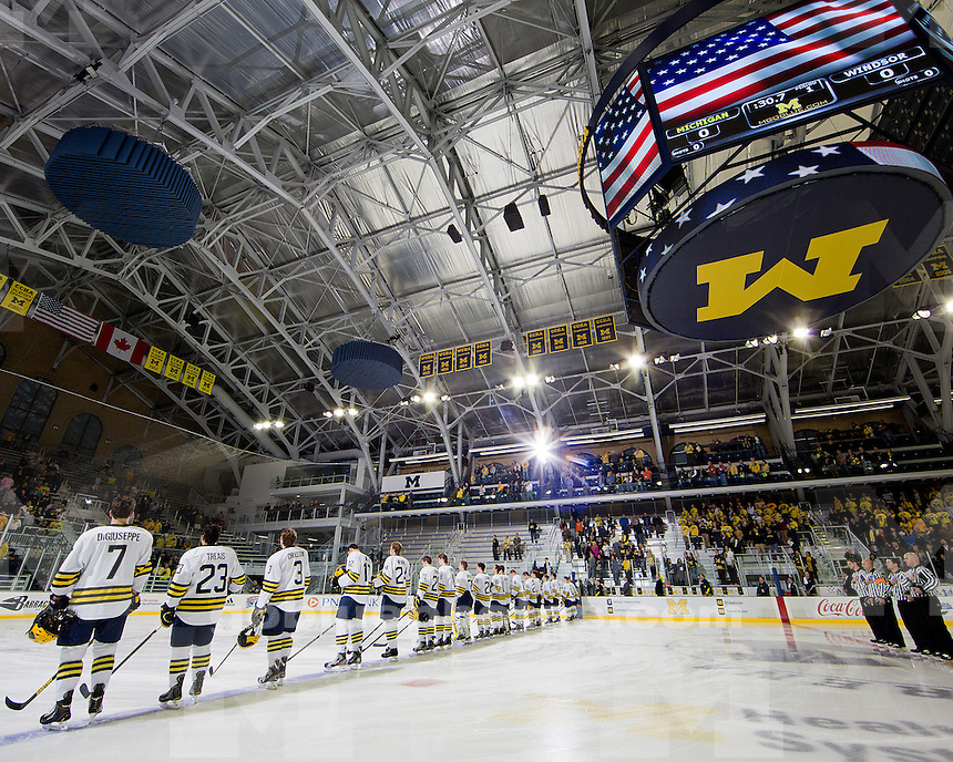 The University of Michigan ice hockey team defeated Windsor, 7-3, in exhibition play at Yost Ice Arena in Ann Arbor, Mich., on October 9, 2012.