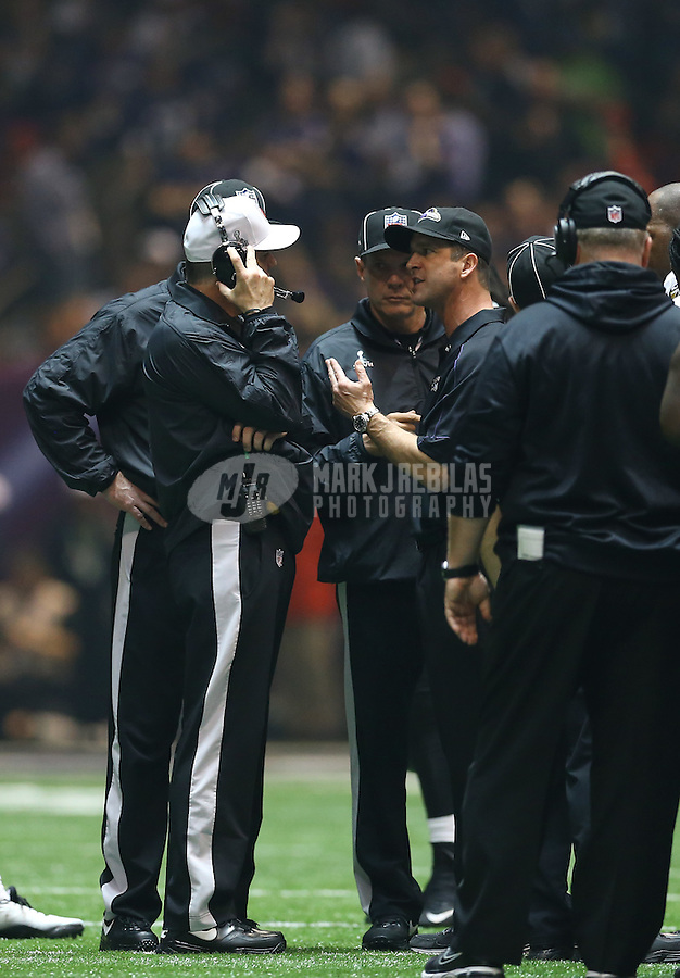 Feb 3, 2013; New Orleans, LA, USA; Baltimore Ravens head coach John Harbaugh argues with NFL officials and referees during the blackout to Super Bowl XLVII against the San Francisco 49ers at the Mercedes-Benz Superdome. Mandatory Credit: Mark J. Rebilas-