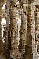 The CHAUMUKHA MANDIR TEMPLE at RANAKPUR in the Pali District of RAJASTHAN near Sadri has 1440 carved pillars with no two alike - INDIA