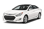 2015 Hyundai Sonata Hybrid Limited 4 Door Sedan Angular Front stock photos of front three quarter view