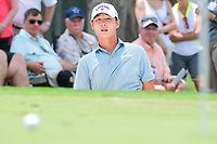 Danny Lee (NZL) hits from the trap on 3 during round 3 of the Dean &amp; Deluca Invitational, at The Colonial, Ft. Worth, Texas, USA. 5/27/2017.<br /> Picture: Golffile | Ken Murray<br /> <br /> <br /> All photo usage must carry mandatory copyright credit (&copy; Golffile | Ken Murray)