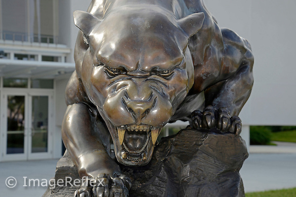 14 October 2015:  A view of the Panther statue that stands watch in front of FIU Arena during picture day at FIU Arena in Miami, Florida.