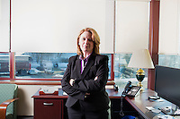 Barbara O' Connor is Director of Public Safety and Chief of Police at the University of Connecticut in Storrs, Connecticut, USA. She is seen here in her office which has windows overlooking the location off North Eagleville Road where Jafar Karzoun was injured in a fight in 2010. Karzoun's injuries from the fight led to his death soon after the incident.